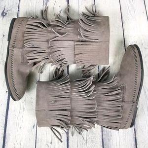 MINNETONKA | fringe suede moccasin boots